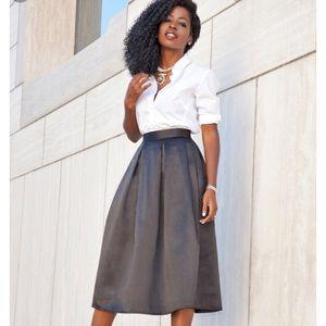 J Crew Grey Silk Pleated Midi Skirt 10
